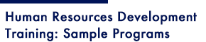 Human Resources Development Training: Sample Programs
